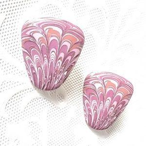 PINK/PURPLE Vintage Paisley Ceramic Prced Earrings